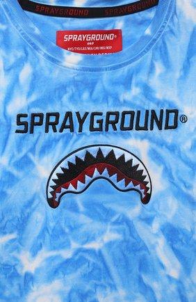 Детская хлопковая футболка SPRAYGROUND синего цвета, арт. 21PESPY181   Фото 3