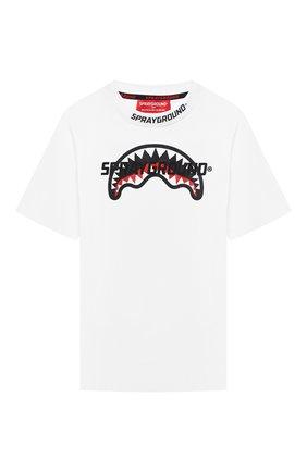 Детская хлопковая футболка SPRAYGROUND белого цвета, арт. 21PESPY182   Фото 1