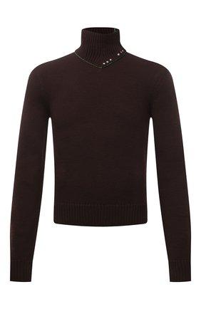 Мужской шерстяной свитер BOTTEGA VENETA темно-коричневого цвета, арт. 656254/V0S80 | Фото 1 (Рукава: Длинные; Материал внешний: Шерсть; Длина (для топов): Стандартные; Стили: Минимализм; Принт: Без принта; Мужское Кросс-КТ: Свитер-одежда)