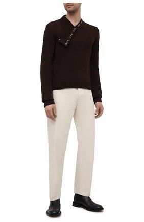 Мужской шерстяной свитер BOTTEGA VENETA темно-коричневого цвета, арт. 656254/V0S80 | Фото 2 (Рукава: Длинные; Материал внешний: Шерсть; Длина (для топов): Стандартные; Стили: Минимализм; Принт: Без принта; Мужское Кросс-КТ: Свитер-одежда)