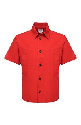 Мужская хлопковая рубашка BOTTEGA VENETA красного цвета, арт. 661550/V0W30 | Фото 1 (Рукава: Короткие; Материал внешний: Хлопок; Длина (для топов): Стандартные; Случай: Повседневный; Воротник: Кент; Стили: Минимализм; Принт: Однотонные)
