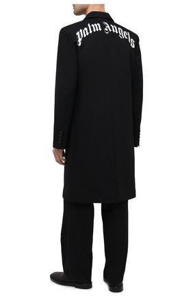 Мужской хлопковое пальто PALM ANGELS черного цвета, арт. PMEA083S21FAB0011001 | Фото 2