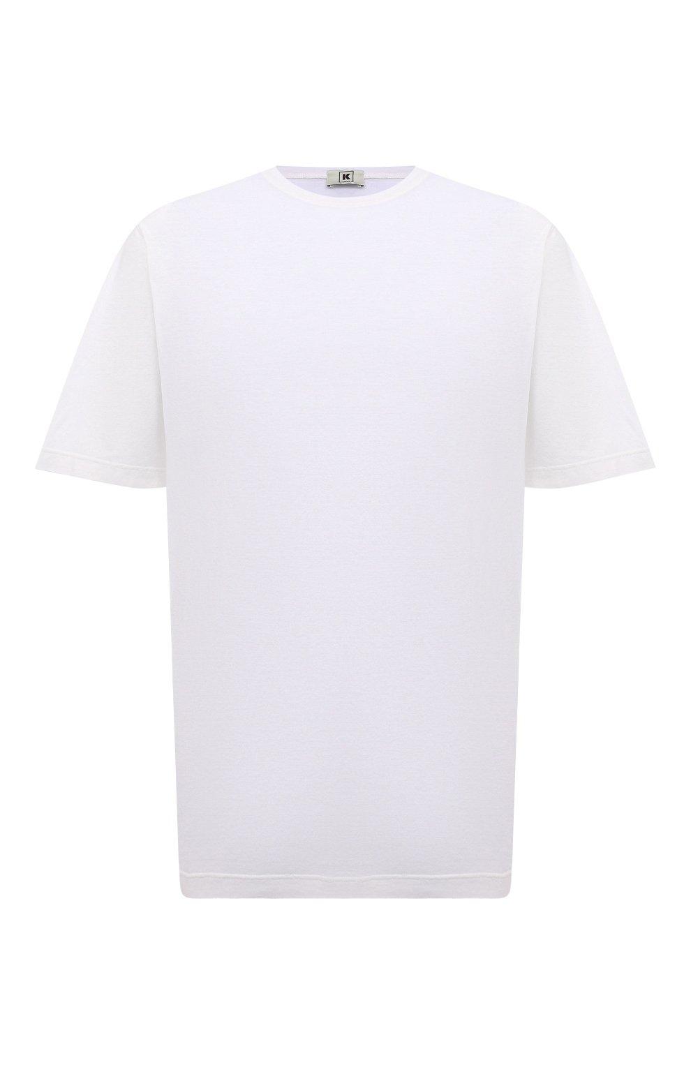Мужская хлопковая футболка KIRED белого цвета, арт. WBACI0LW7321001002/64-74   Фото 1 (Big sizes: Big Sizes; Принт: Без принта; Рукава: Короткие; Длина (для топов): Удлиненные; Материал внешний: Хлопок; Стили: Кэжуэл)