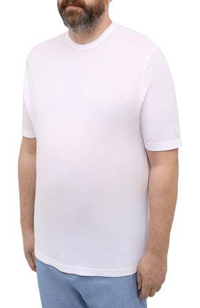 Мужская хлопковая футболка KIRED белого цвета, арт. WBACI0LW7321001002/64-74   Фото 3 (Big sizes: Big Sizes; Принт: Без принта; Рукава: Короткие; Длина (для топов): Удлиненные; Материал внешний: Хлопок; Стили: Кэжуэл)