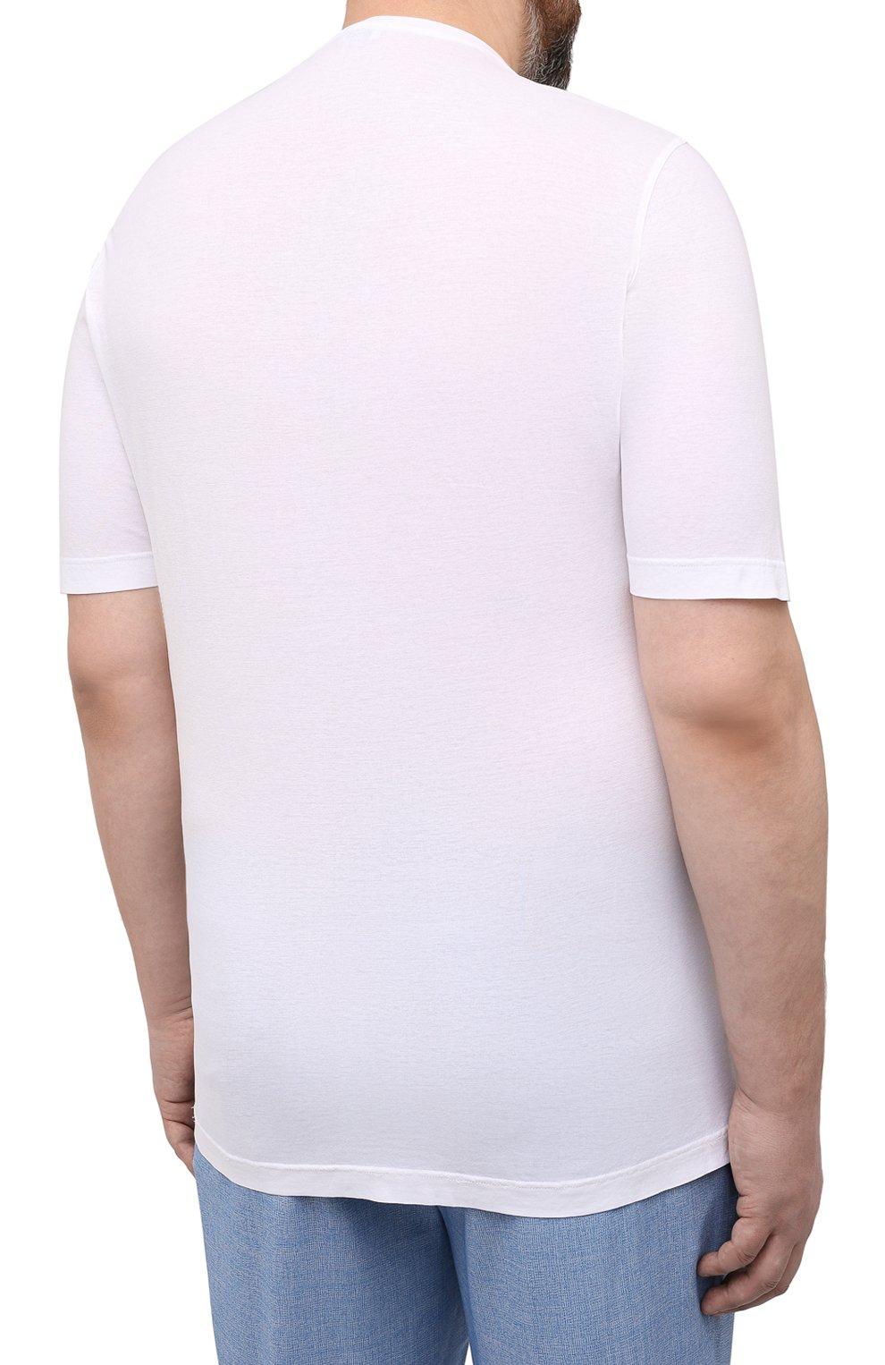 Мужская хлопковая футболка KIRED белого цвета, арт. WBACI0LW7321001002/64-74   Фото 4 (Big sizes: Big Sizes; Принт: Без принта; Рукава: Короткие; Длина (для топов): Удлиненные; Материал внешний: Хлопок; Стили: Кэжуэл)
