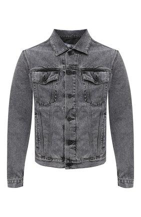 Мужская джинсовая куртка OFF-WHITE серого цвета, арт. 0MYE054S21DEN006 | Фото 1 (Материал внешний: Хлопок; Длина (верхняя одежда): Короткие; Рукава: Длинные; Стили: Гранж; Кросс-КТ: Куртка, Деним)