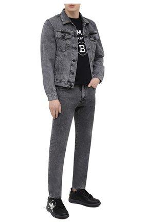 Мужская джинсовая куртка OFF-WHITE серого цвета, арт. 0MYE054S21DEN006 | Фото 2 (Материал внешний: Хлопок; Длина (верхняя одежда): Короткие; Рукава: Длинные; Стили: Гранж; Кросс-КТ: Куртка, Деним)