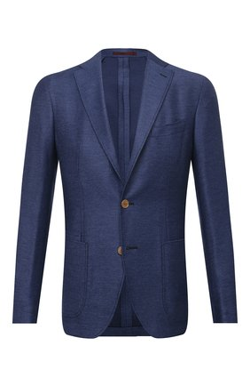 Мужской пиджак из шерсти и шелка LUCIANO BARBERA темно-синего цвета, арт. 111210/16039 | Фото 1