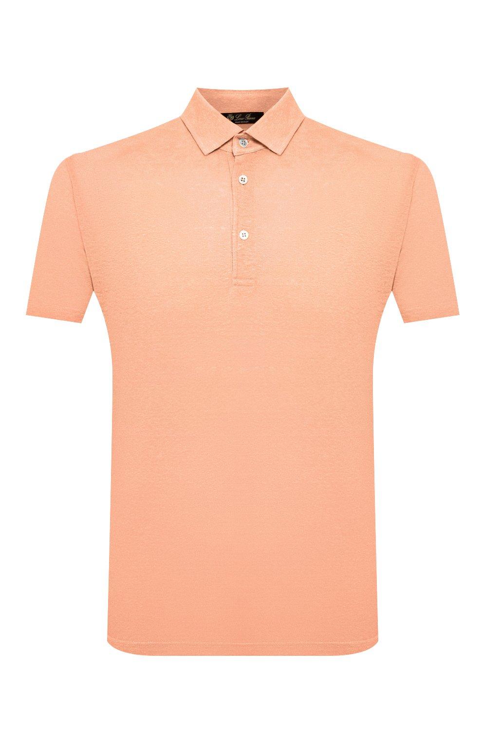 Мужское льняное поло LORO PIANA оранжевого цвета, арт. FAI1314 | Фото 1
