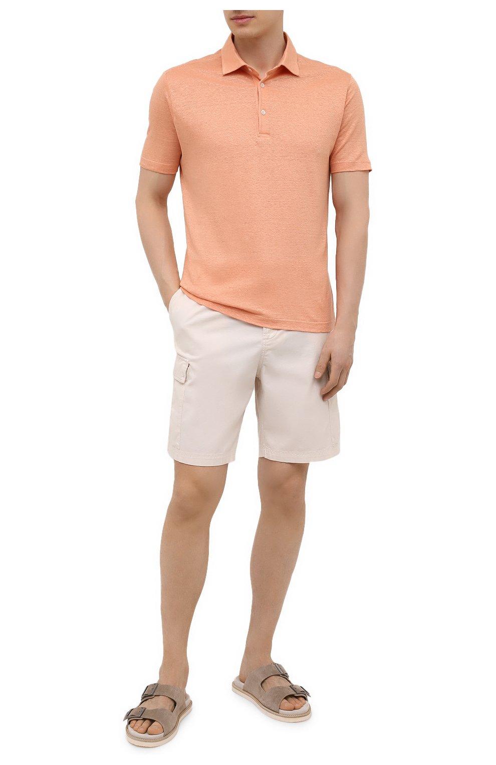 Мужское льняное поло LORO PIANA оранжевого цвета, арт. FAI1314 | Фото 2