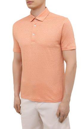 Мужское льняное поло LORO PIANA оранжевого цвета, арт. FAI1314 | Фото 3
