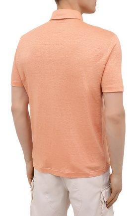 Мужское льняное поло LORO PIANA оранжевого цвета, арт. FAI1314 | Фото 4
