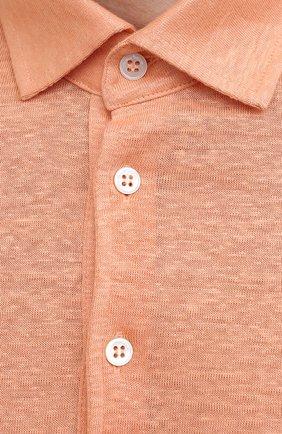 Мужское льняное поло LORO PIANA оранжевого цвета, арт. FAI1314 | Фото 5