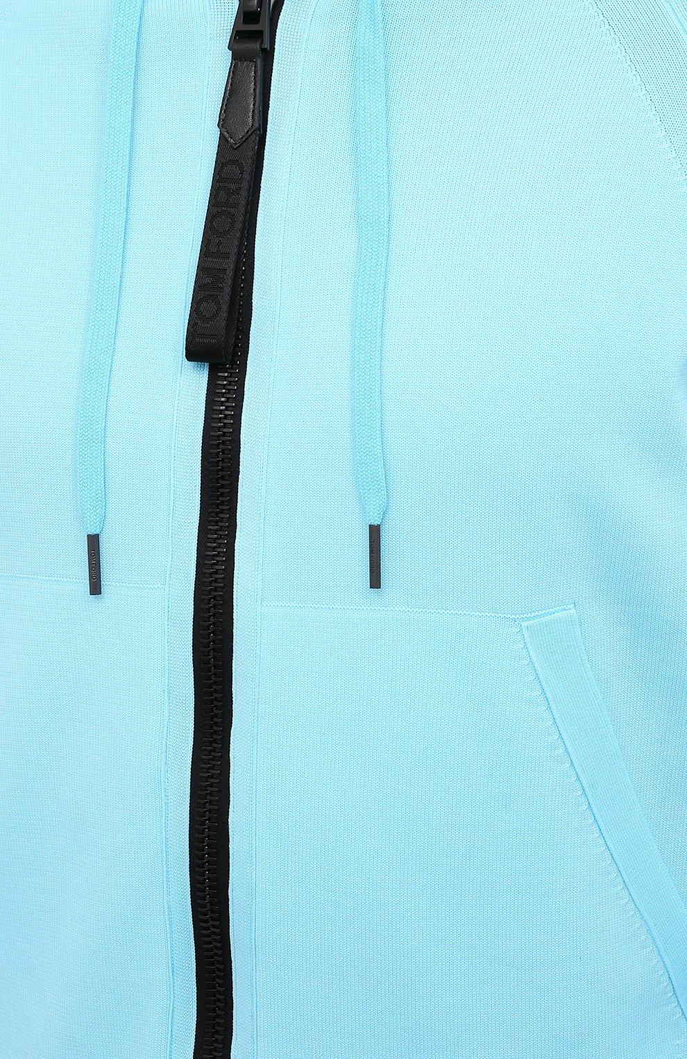 Мужской толстовка TOM FORD бирюзового цвета, арт. BWY22/TFK154   Фото 5