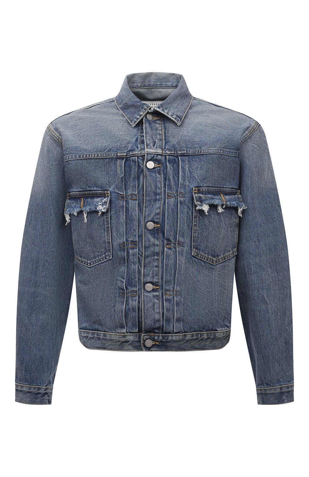 Мужская джинсовая куртка MAISON MARGIELA синего цвета, арт. S50AM0501/S30736   Фото 1 (Кросс-КТ: Куртка, Деним; Рукава: Длинные; Стили: Гранж; Материал внешний: Хлопок; Длина (верхняя одежда): Короткие)