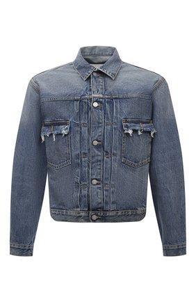 Мужская джинсовая куртка MAISON MARGIELA синего цвета, арт. S50AM0501/S30736 | Фото 1 (Материал внешний: Хлопок; Рукава: Длинные; Длина (верхняя одежда): Короткие; Кросс-КТ: Куртка, Деним; Стили: Гранж)