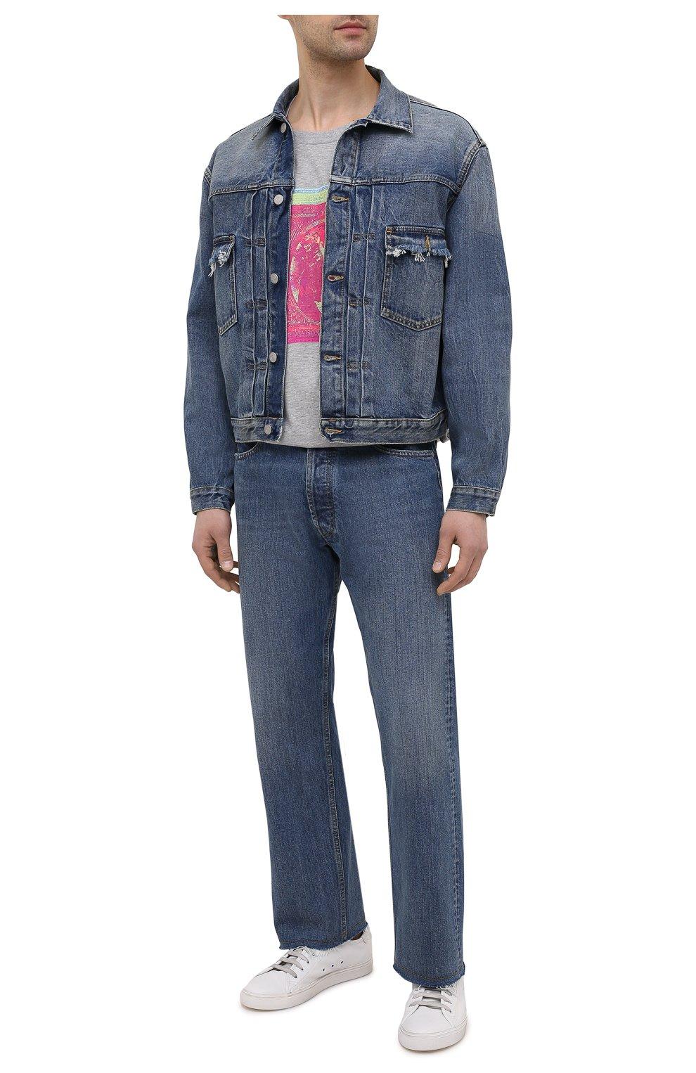 Мужская джинсовая куртка MAISON MARGIELA синего цвета, арт. S50AM0501/S30736   Фото 2 (Кросс-КТ: Куртка, Деним; Рукава: Длинные; Стили: Гранж; Материал внешний: Хлопок; Длина (верхняя одежда): Короткие)