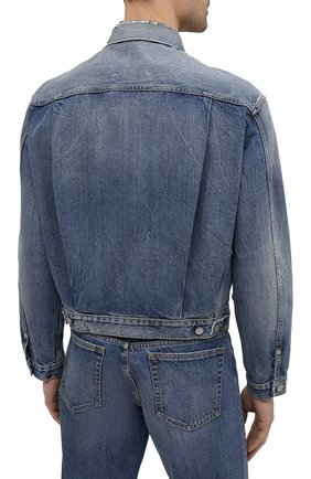 Мужская джинсовая куртка MAISON MARGIELA синего цвета, арт. S50AM0501/S30736   Фото 4 (Кросс-КТ: Куртка, Деним; Рукава: Длинные; Стили: Гранж; Материал внешний: Хлопок; Длина (верхняя одежда): Короткие)