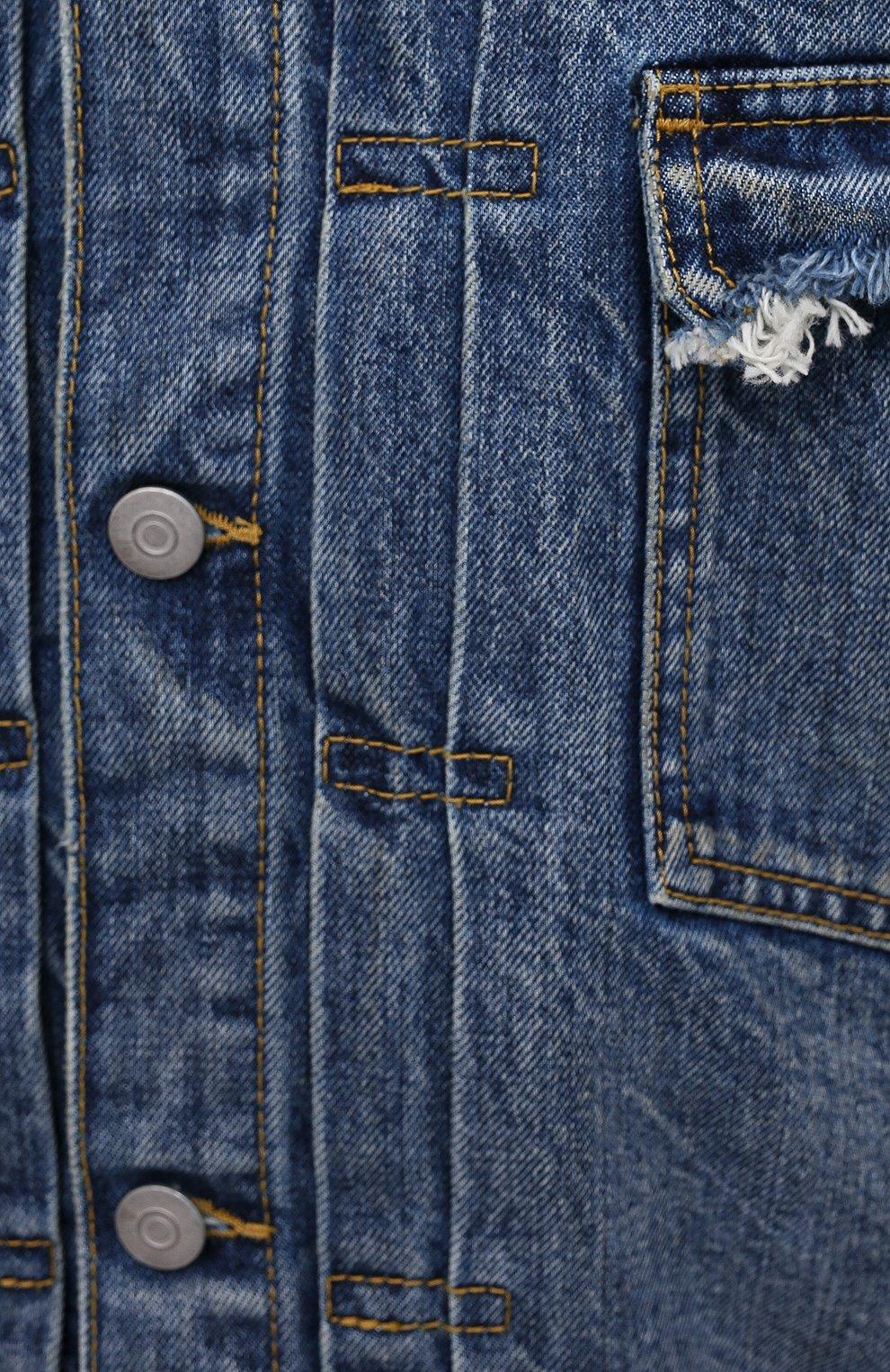 Мужская джинсовая куртка MAISON MARGIELA синего цвета, арт. S50AM0501/S30736   Фото 5 (Кросс-КТ: Куртка, Деним; Рукава: Длинные; Стили: Гранж; Материал внешний: Хлопок; Длина (верхняя одежда): Короткие)