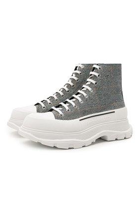 Мужские текстильные кроссовки ALEXANDER MCQUEEN серого цвета, арт. 652756/W4PE1 | Фото 1 (Подошва: Массивная; Материал внутренний: Натуральная кожа; Материал внешний: Текстиль; Стили: Гранж)