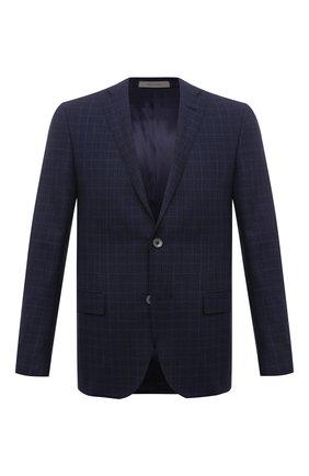 Мужской шерстяной пиджак CORNELIANI синего цвета, арт. 876Y75-1116254/90   Фото 1 (Материал внешний: Шерсть; Длина (для топов): Стандартные; Пиджаки М: Прямой; Случай: Коктейльный; Материал подклада: Вискоза; Стили: Классический; Рукава: Длинные; 1-2-бортные: Однобортные)