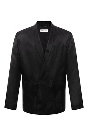 Мужской пиджак из вискозы и шелка SAINT LAURENT черного цвета, арт. 642391/Y1C55 | Фото 1