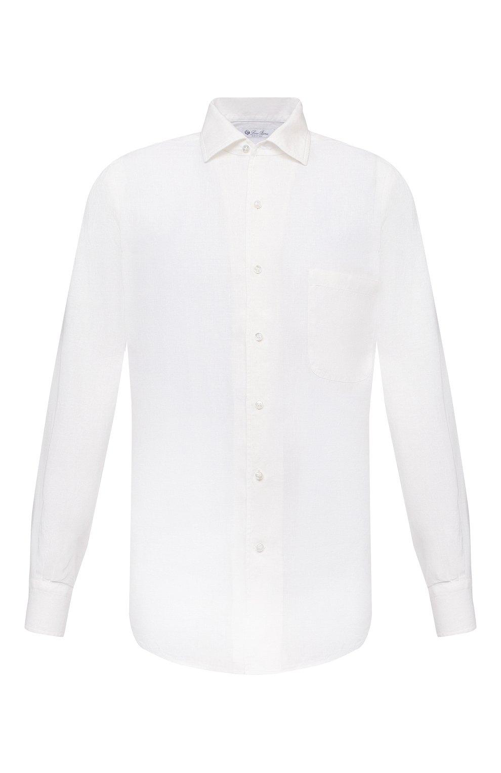 Мужская льняная рубашка LORO PIANA белого цвета, арт. FAL6255 | Фото 1