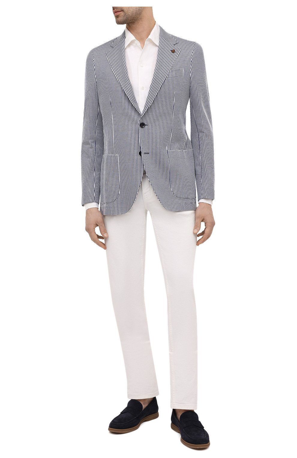 Мужская льняная рубашка LORO PIANA белого цвета, арт. FAL6255 | Фото 2