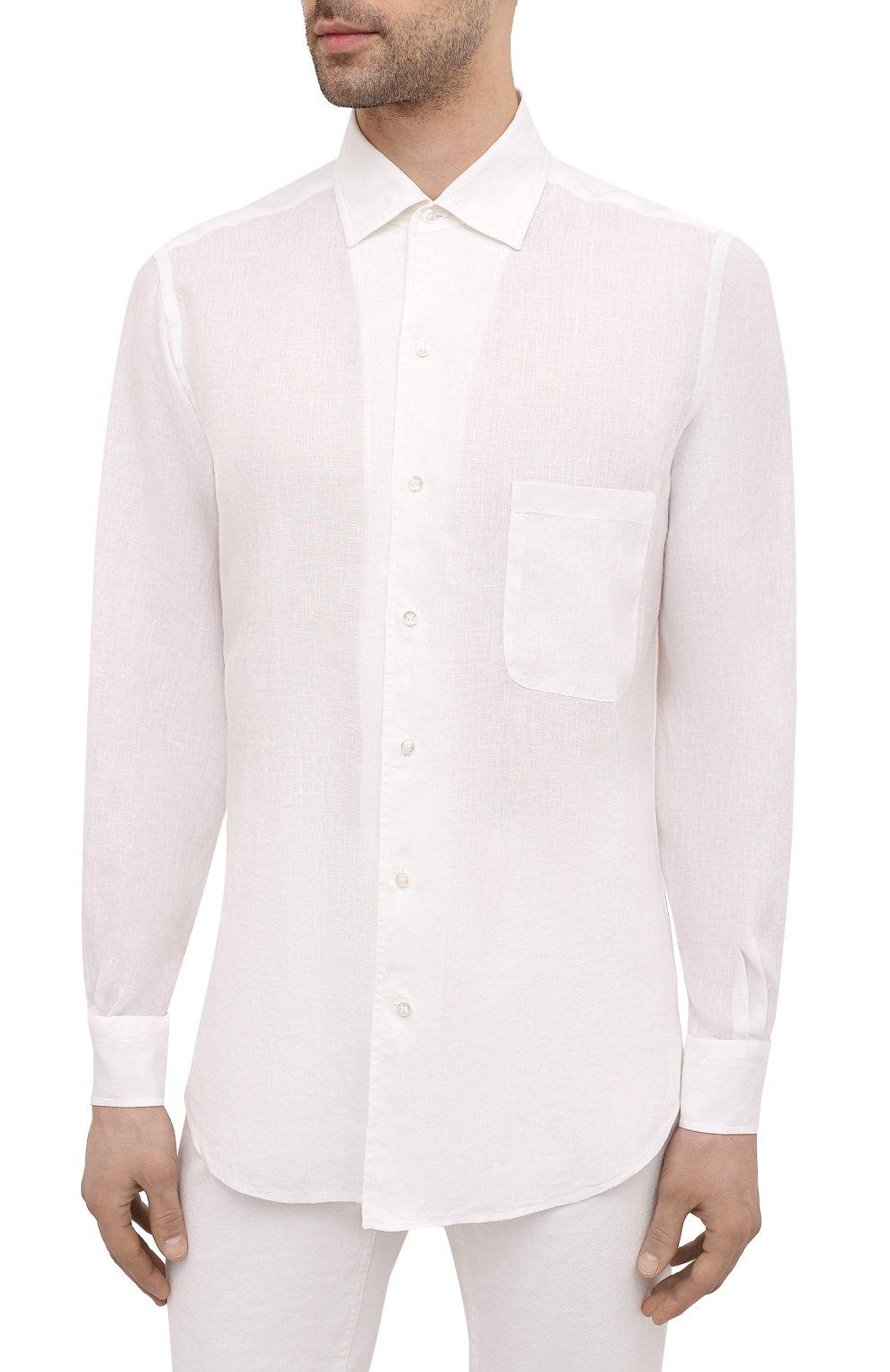 Мужская льняная рубашка LORO PIANA белого цвета, арт. FAL6255 | Фото 3