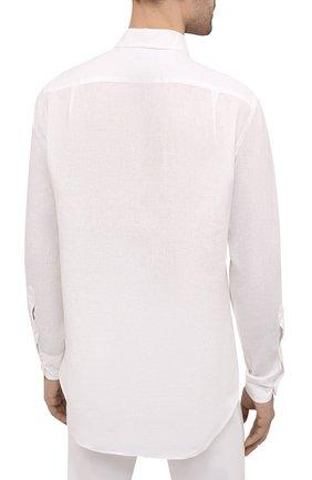 Мужская льняная рубашка LORO PIANA белого цвета, арт. FAL6255 | Фото 4