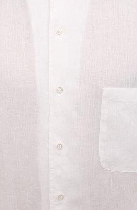 Мужская льняная рубашка LORO PIANA белого цвета, арт. FAL6255 | Фото 5