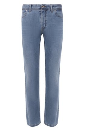 Мужские джинсы BRIONI голубого цвета, арт. SPPC0M/P0D07/CHAM0NIX | Фото 1 (Материал внешний: Хлопок; Длина (брюки, джинсы): Стандартные; Стили: Кэжуэл; Силуэт М (брюки): Прямые; Кросс-КТ: Деним)
