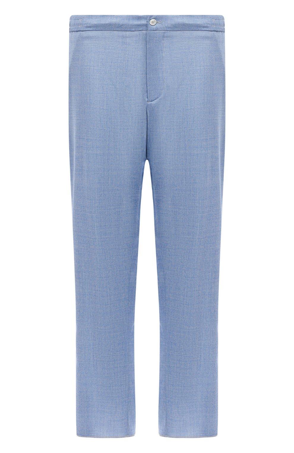 Мужские шерстяные брюки MARCO PESCAROLO голубого цвета, арт. CHIAIAM/4328   Фото 1 (Big sizes: Big Sizes; Материал внешний: Шерсть; Силуэт М (брюки): Чиносы; Длина (брюки, джинсы): Стандартные; Случай: Повседневный; Стили: Кэжуэл)