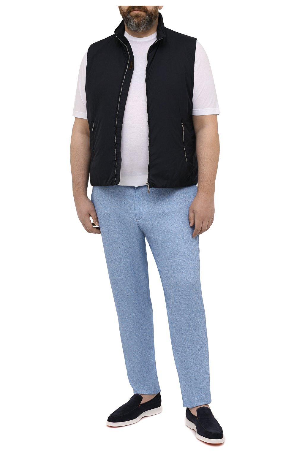 Мужские шерстяные брюки MARCO PESCAROLO голубого цвета, арт. CHIAIAM/4328   Фото 2 (Big sizes: Big Sizes; Материал внешний: Шерсть; Силуэт М (брюки): Чиносы; Длина (брюки, джинсы): Стандартные; Случай: Повседневный; Стили: Кэжуэл)