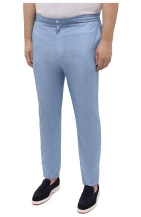 Мужские шерстяные брюки MARCO PESCAROLO голубого цвета, арт. CHIAIAM/4328   Фото 3 (Big sizes: Big Sizes; Материал внешний: Шерсть; Силуэт М (брюки): Чиносы; Длина (брюки, джинсы): Стандартные; Случай: Повседневный; Стили: Кэжуэл)