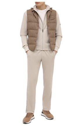 Мужские хлопковые брюки Z ZEGNA кремвого цвета, арт. VW413/ZZP13 | Фото 2 (Материал внешний: Хлопок; Длина (брюки, джинсы): Стандартные; Мужское Кросс-КТ: Брюки-трикотаж; Случай: Повседневный; Стили: Спорт-шик)