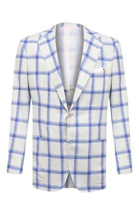 Мужской пиджак из кашемира и шелка KITON голубого цвета, арт. UG81K06T02 | Фото 1