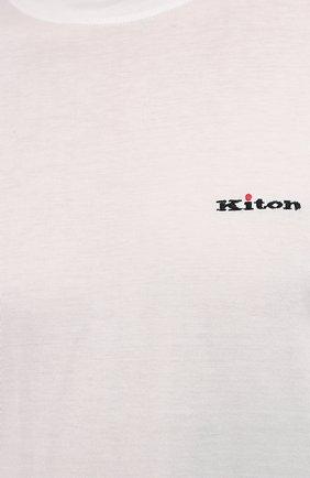 Мужская хлопковая футболка KITON белого цвета, арт. UK1274L   Фото 5