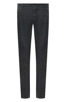 Мужские льняные брюки TRANSIT темно-серого цвета, арт. CFUTRND132   Фото 1 (Длина (брюки, джинсы): Стандартные; Материал внешний: Лен; Случай: Повседневный; Стили: Кэжуэл)