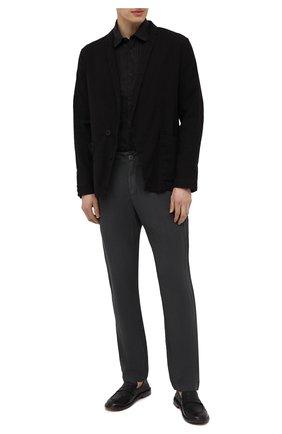 Мужские льняные брюки TRANSIT темно-серого цвета, арт. CFUTRND132   Фото 2 (Длина (брюки, джинсы): Стандартные; Материал внешний: Лен; Случай: Повседневный; Стили: Кэжуэл)