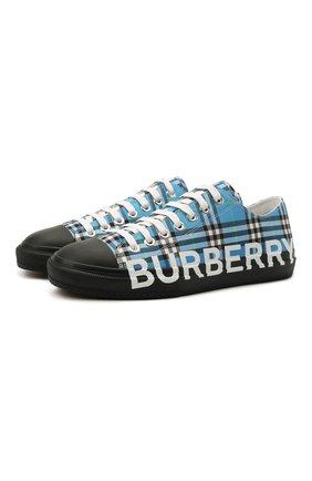 Мужские текстильные кеды BURBERRY синего цвета, арт. 8039499 | Фото 1