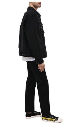 Мужские текстильные кеды BURBERRY черного цвета, арт. 8038347 | Фото 2