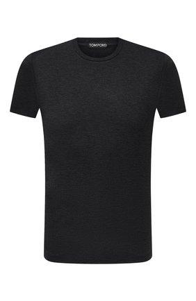 Мужская футболка из вискозы TOM FORD темно-серого цвета, арт. BW278/TFJ209 | Фото 1 (Длина (для топов): Стандартные; Материал внешний: Вискоза; Рукава: Короткие; Принт: Без принта; Стили: Кэжуэл)