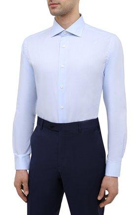 Мужская хлопковая сорочка BRIONI светло-голубого цвета, арт. RCH10N/P004L | Фото 3