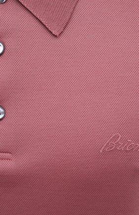 Мужское хлопковое поло BRIONI розового цвета, арт. UJFR0L/P0612 | Фото 5