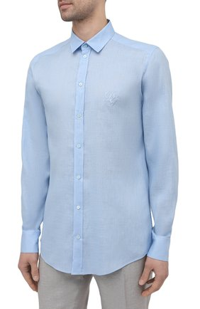 Мужская льняная рубашка DOLCE & GABBANA голубого цвета, арт. G5EJ1Z/FU4IK | Фото 3