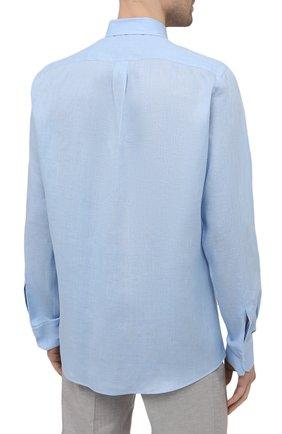 Мужская льняная рубашка DOLCE & GABBANA голубого цвета, арт. G5EJ1Z/FU4IK | Фото 4