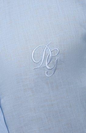 Мужская льняная рубашка DOLCE & GABBANA голубого цвета, арт. G5EJ1Z/FU4IK | Фото 5