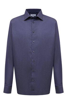 Мужская хлопковая сорочка ETON темно-синего цвета, арт. 1000 03037 | Фото 1 (Материал внешний: Хлопок; Длина (для топов): Стандартные; Рукава: Длинные; Стили: Классический; Манжеты: На пуговицах; Воротник: Акула; Случай: Формальный; Рубашки М: Regular Fit; Принт: Однотонные)