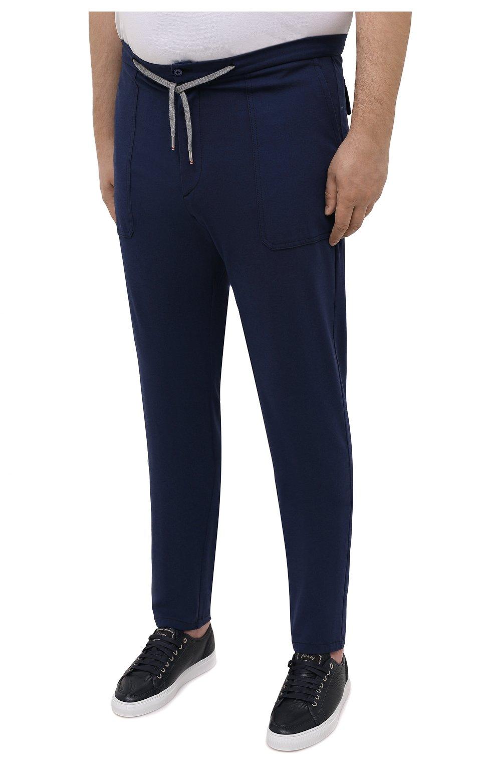 Мужские брюки из вискозы MARCO PESCAROLO синего цвета, арт. BAIA/4362   Фото 3 (Big sizes: Big Sizes; Мужское Кросс-КТ: Брюки-трикотаж; Длина (брюки, джинсы): Стандартные; Случай: Повседневный; Материал внешний: Вискоза; Стили: Кэжуэл)